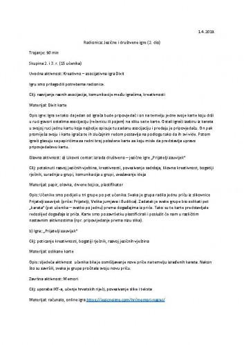 Radionica Jezične i društvene igre: 2.dio (skupina 2. i 3.r.)_izvješće